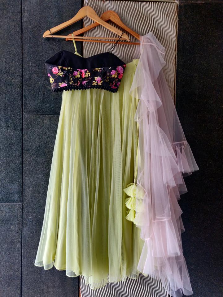 Black Floral and Lime lehenga