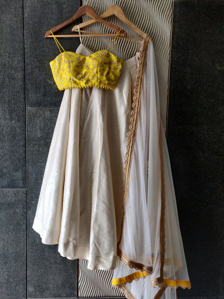 Ivory and Yellow Bustier Lehenga