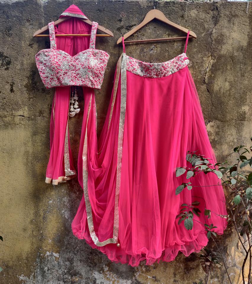 Fuchsia Pink Net Lehenga Set