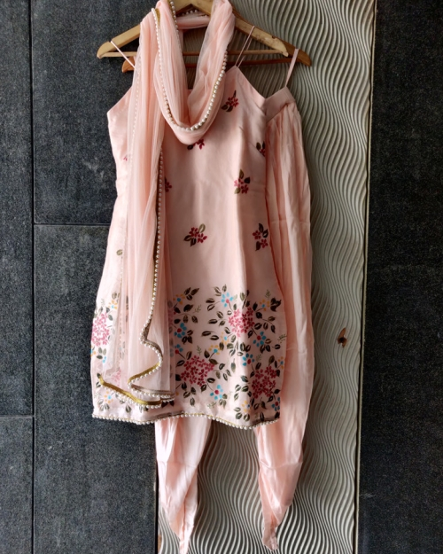Peach Handprinted Kurta and Dhoti Set