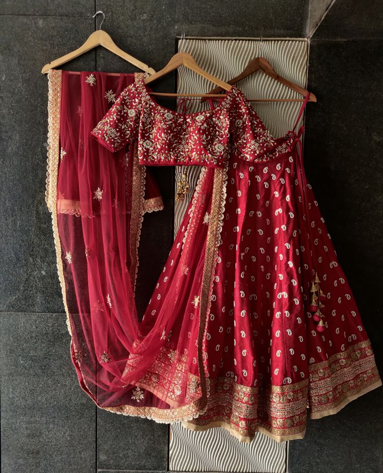 Red Bridal Paisley Work Lehenga - Fashion Brand & Designer Priti Sahni