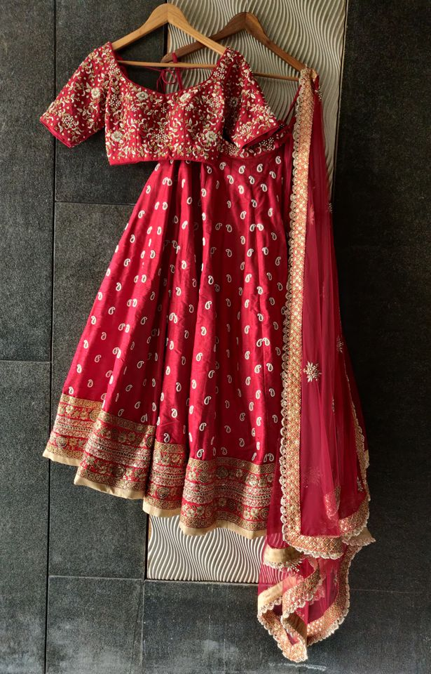 Red Bridal Paisley Work Lehenga - Fashion Brand & Designer Priti Sahni 7
