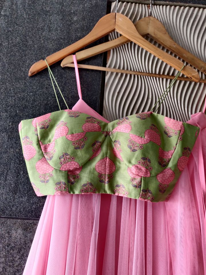 Mint Green Bustier and Pink Lehenga Set