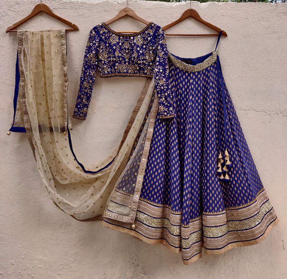 Indigo Blue Sharmily Lehenga - Fashion Brand & Designer Priti Sahni
