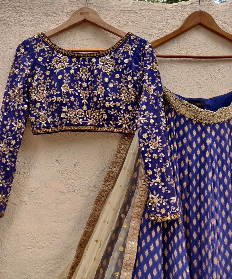 Indigo Blue Sharmily Lehenga - Fashion Brand & Designer Priti Sahni 2