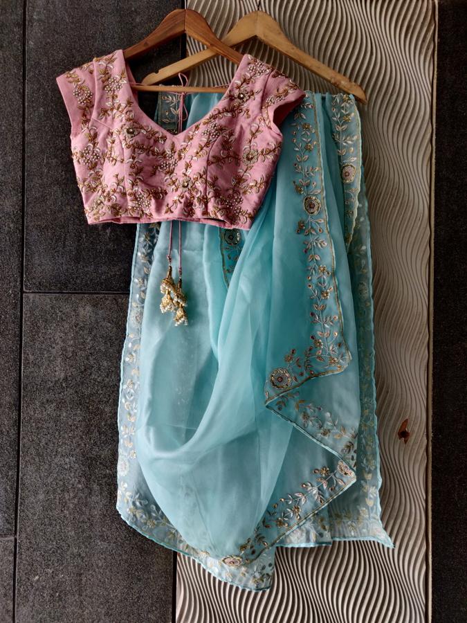 Powder Blue Organza Embroidered Saree - Fashion Brand & Designer Priti Sahni