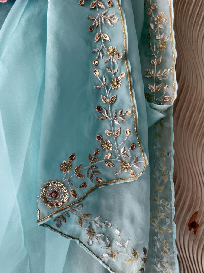 Powder Blue Organza Embroidered Saree - Fashion Brand & Designer Priti Sahni 2