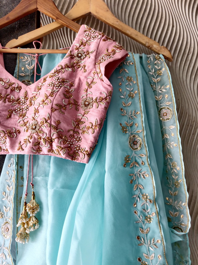 Powder Blue Organza Embroidered Saree - Fashion Brand & Designer Priti Sahni 5