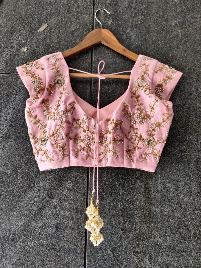 Powder Blue Organza Embroidered Saree - Fashion Brand & Designer Priti Sahni 4