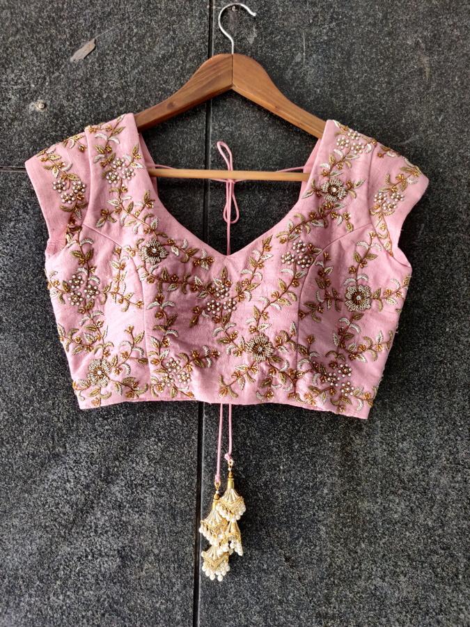 Powder Blue Organza Embroidered Saree - Fashion Brand & Designer Priti Sahni 3