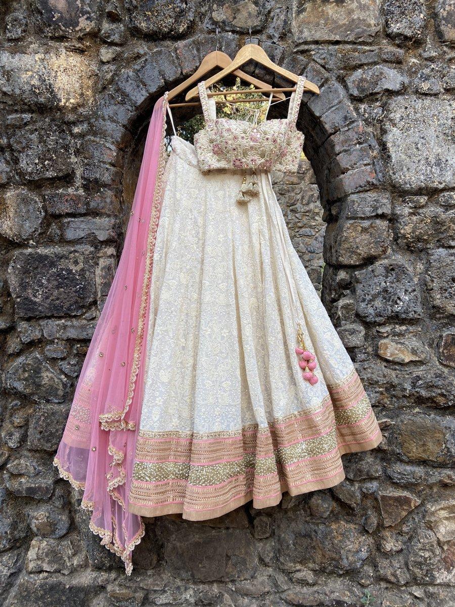 Ivory Lucknowi Lehenga Set - Fashion Brand & Designer Priti Sahni