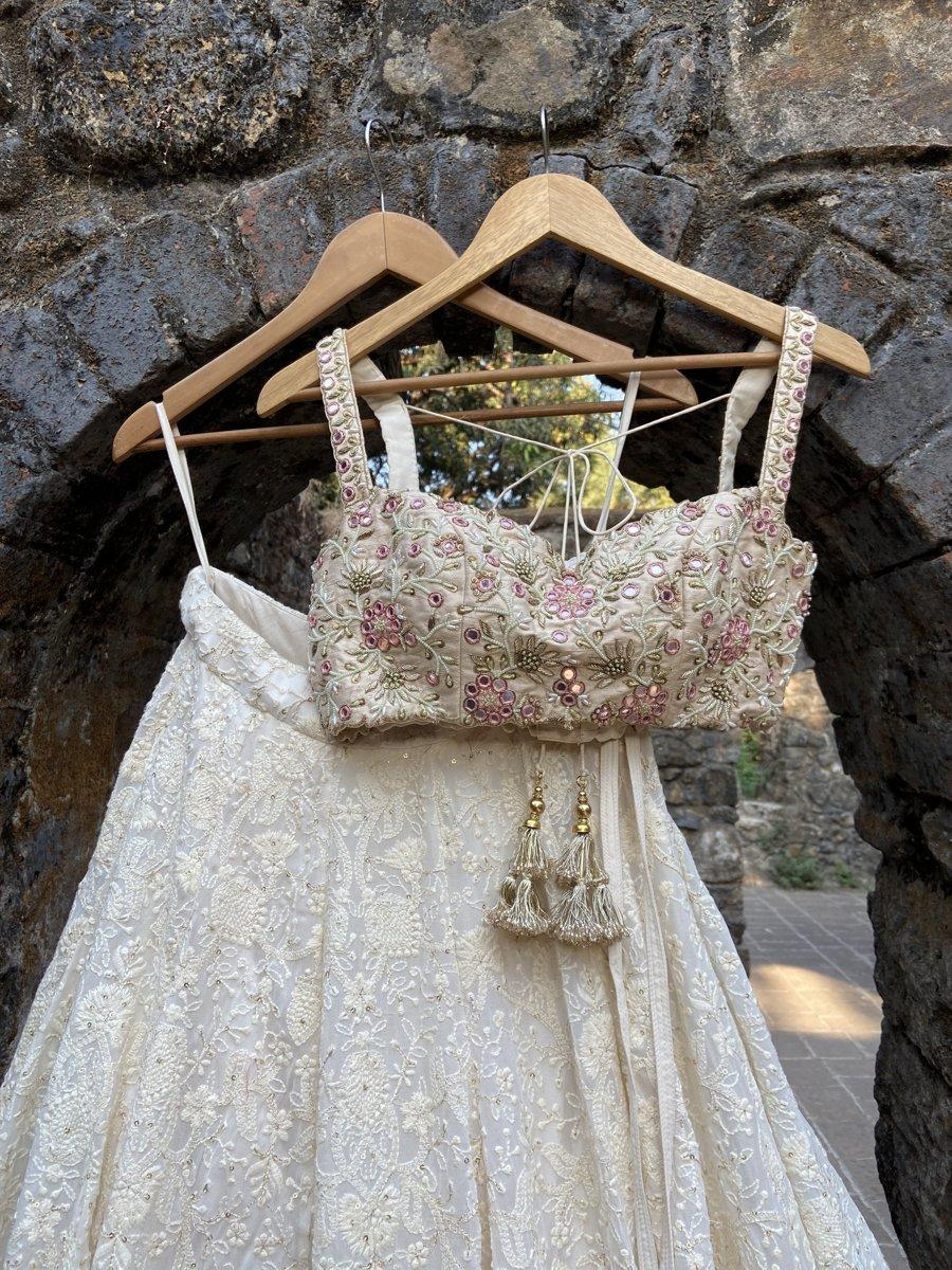 Ivory Lucknowi Lehenga Set - Fashion Brand & Designer Priti Sahni 2