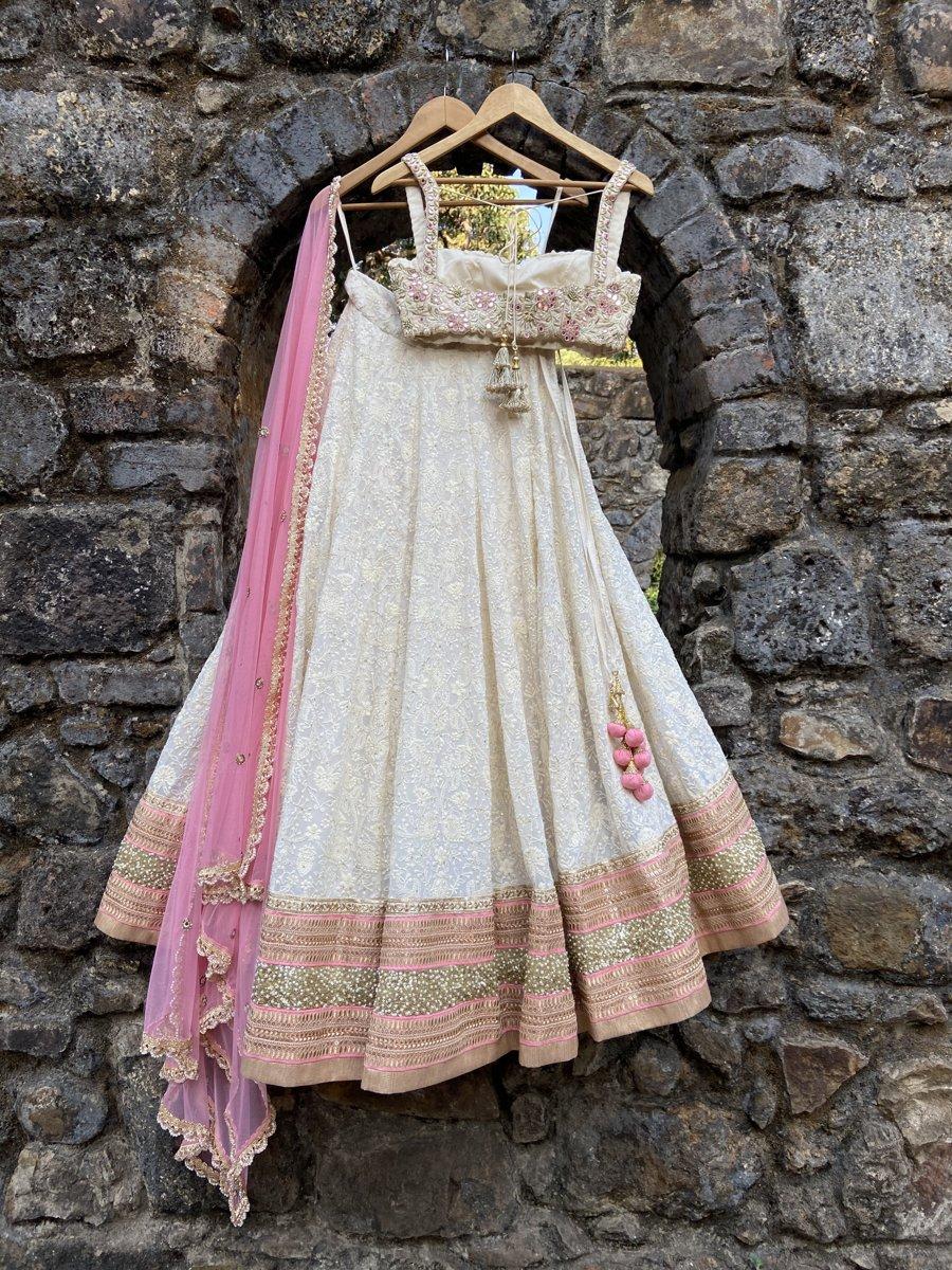 Ivory Lucknowi Lehenga Set - Fashion Brand & Designer Priti Sahni 5