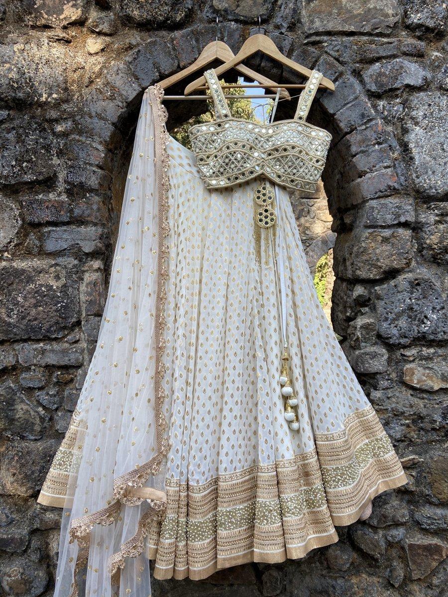 Ivory Mirror Bustier Lehenga Set - Fashion Brand & Designer Priti Sahni