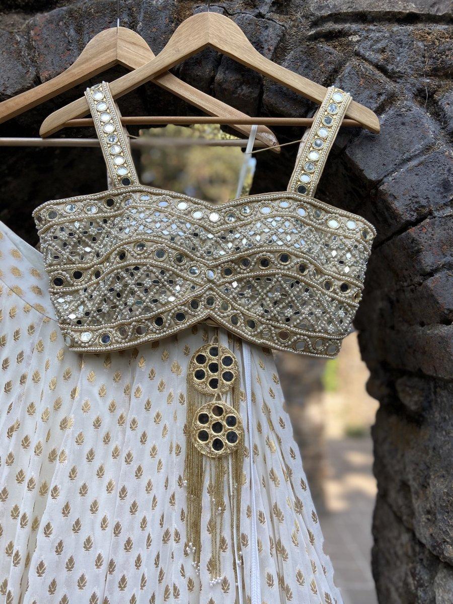Ivory Mirror Bustier Lehenga Set - Fashion Brand & Designer Priti Sahni 2