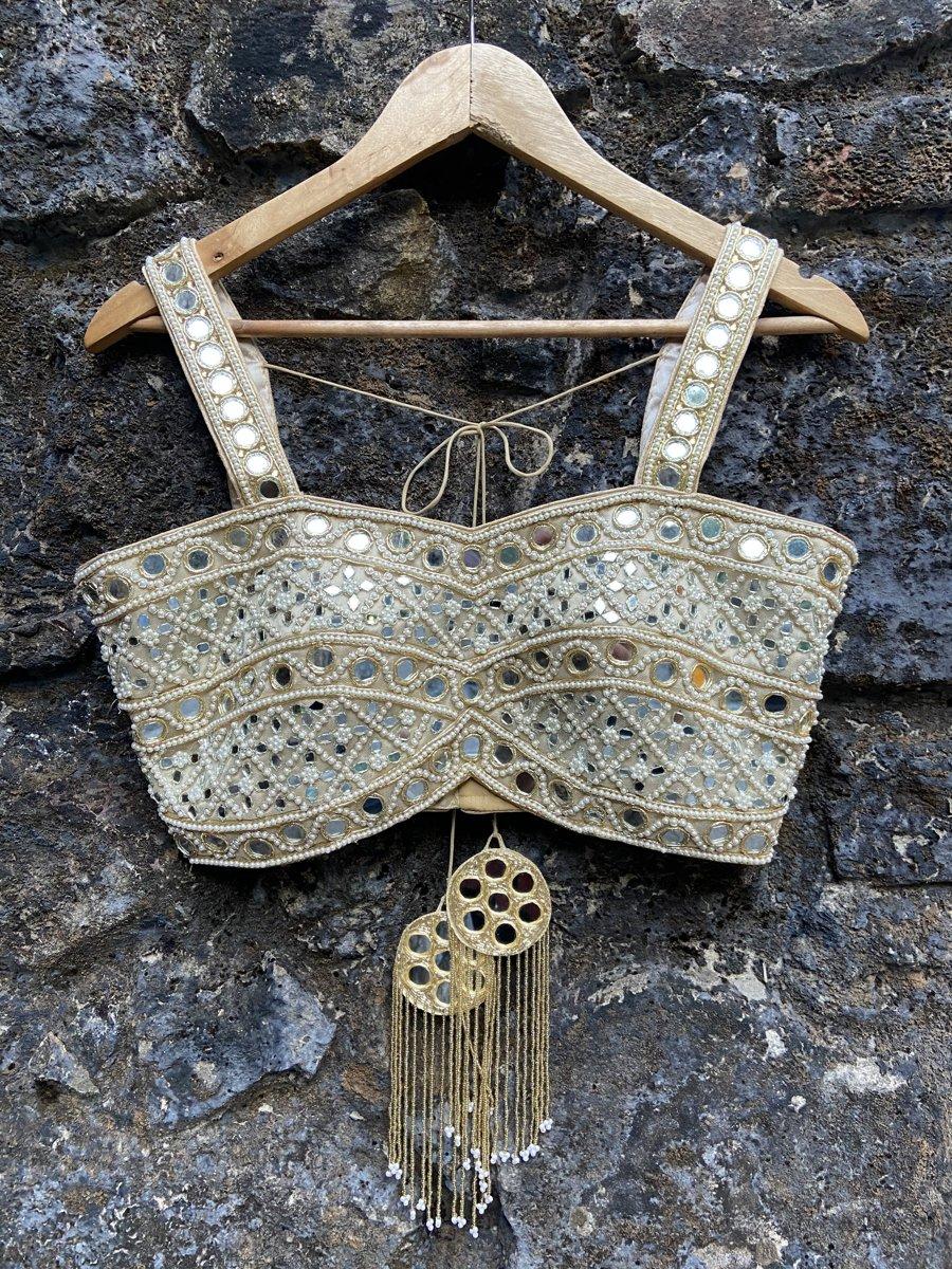 Ivory Mirror Bustier Lehenga Set - Fashion Brand & Designer Priti Sahni 6