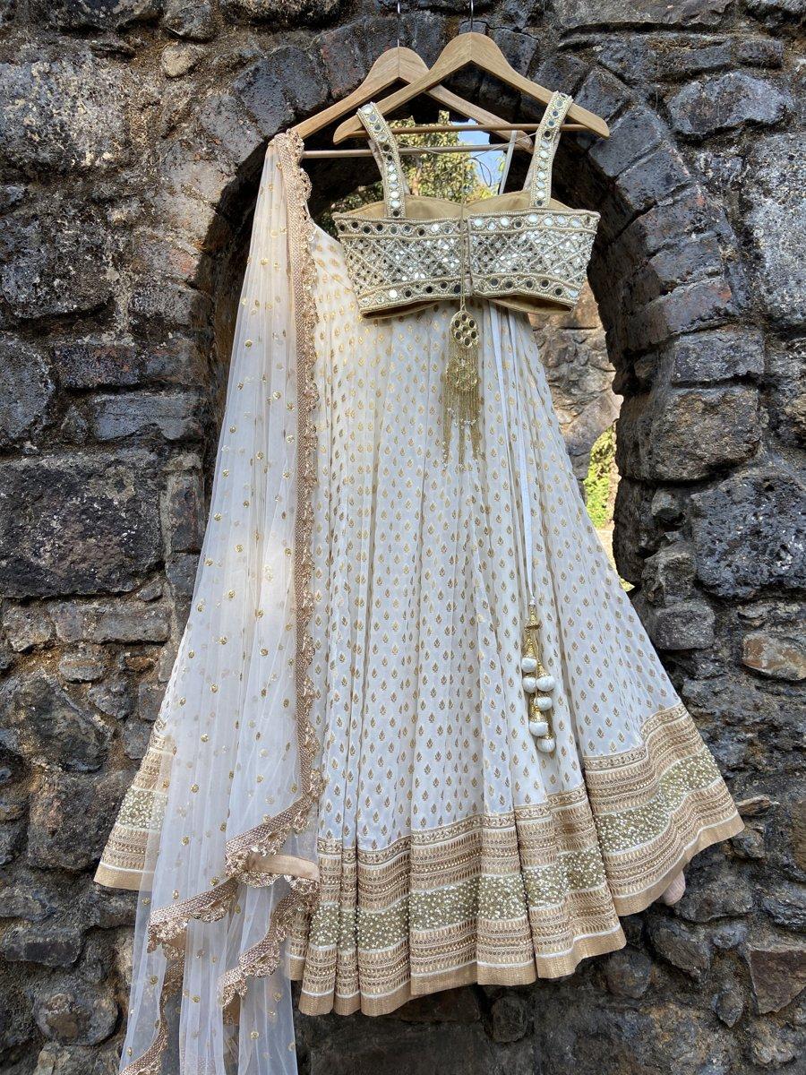 Ivory Mirror Bustier Lehenga Set - Fashion Brand & Designer Priti Sahni 4