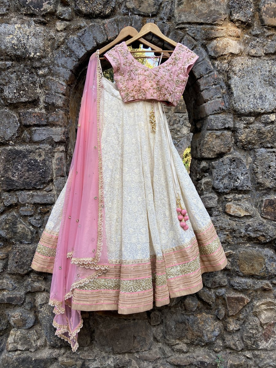 Ivory and Pink Lucknowi Lehenga Set - Fashion Brand & Designer Priti Sahni