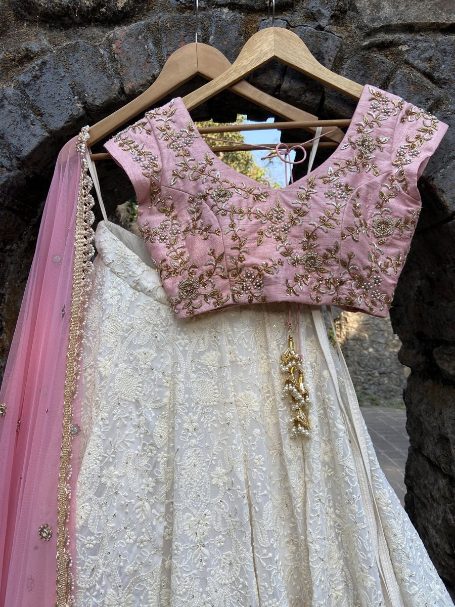 Ivory and Pink Lucknowi Lehenga Set - Fashion Brand & Designer Priti Sahni 2