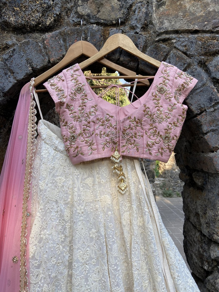 Ivory and Pink Lucknowi Lehenga Set - Fashion Brand & Designer Priti Sahni 5