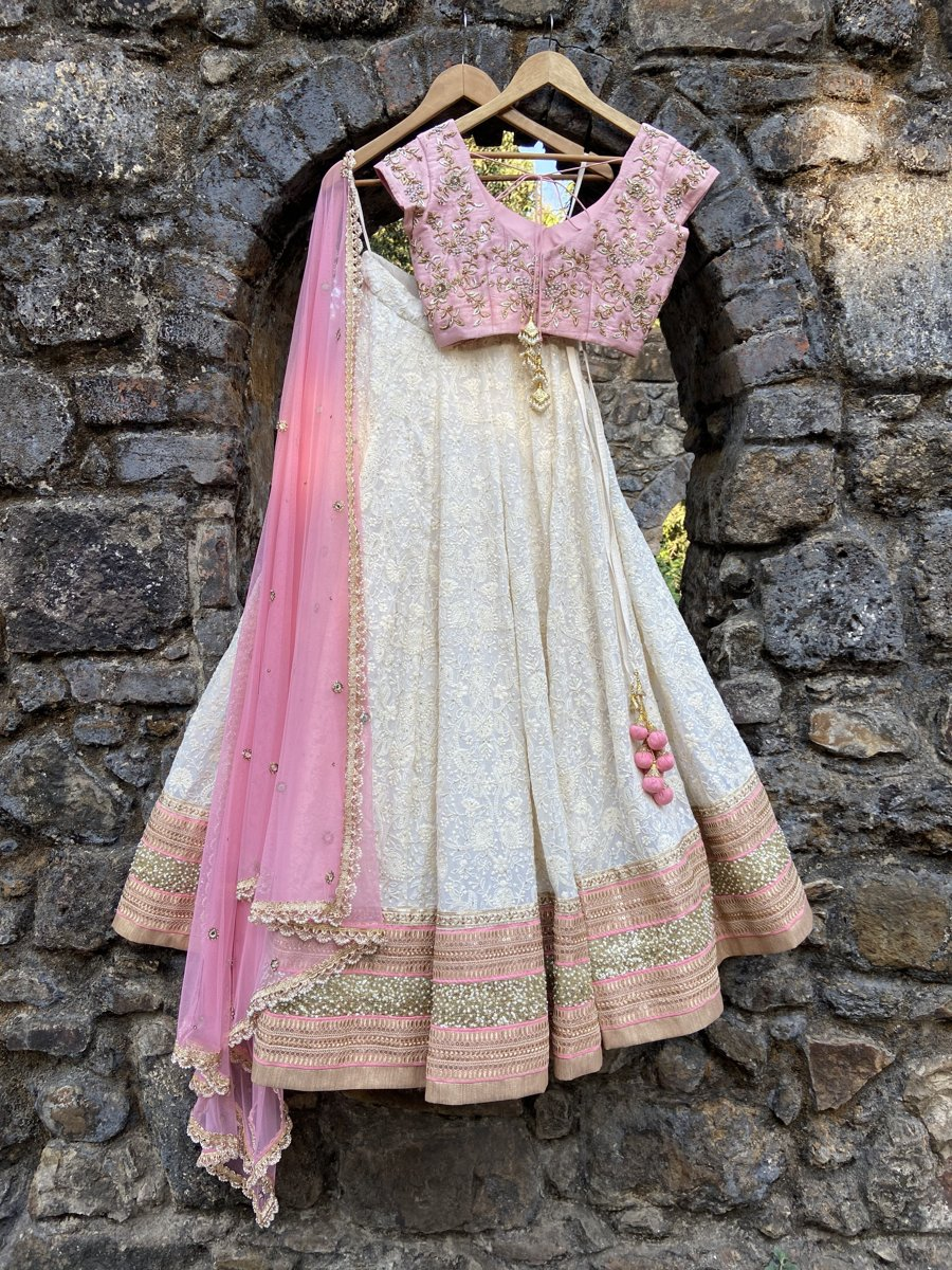 Ivory and Pink Lucknowi Lehenga Set - Fashion Brand & Designer Priti Sahni 4