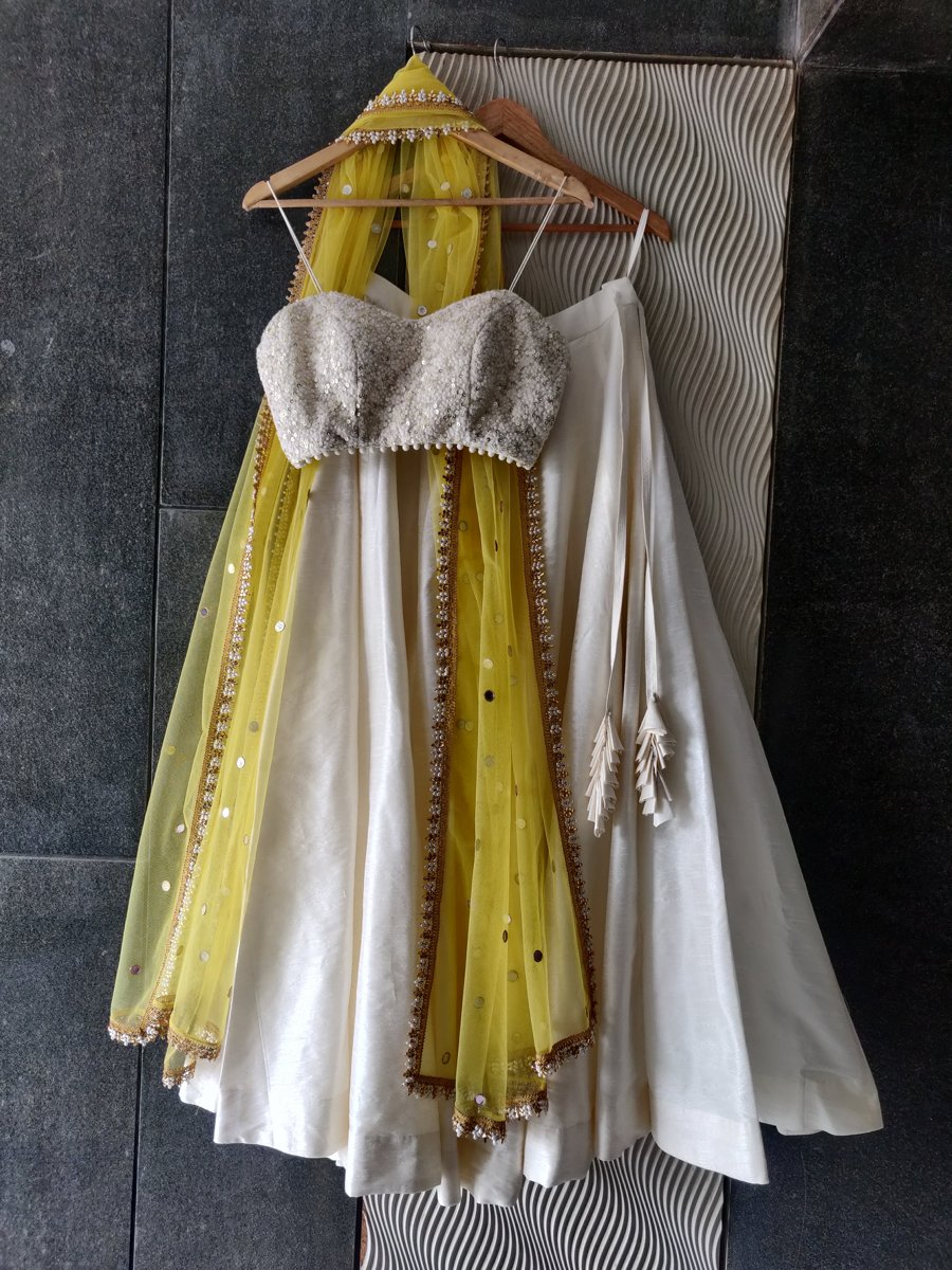 Ivory and Yellow Thread Work Bustier and Lehenga Set - Fashion Brand & Designer Priti Sahni 4