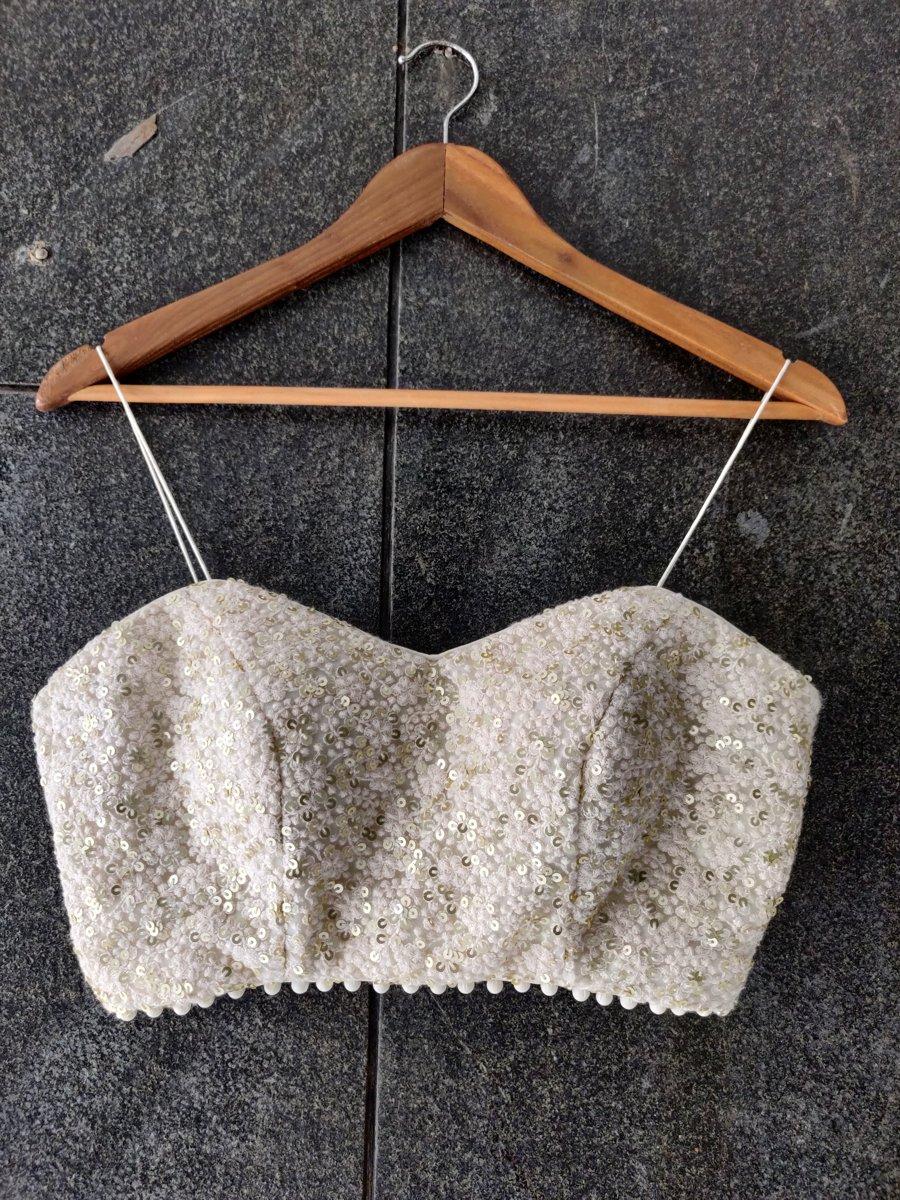 Ivory and Yellow Thread Work Bustier and Lehenga Set - Fashion Brand & Designer Priti Sahni 3