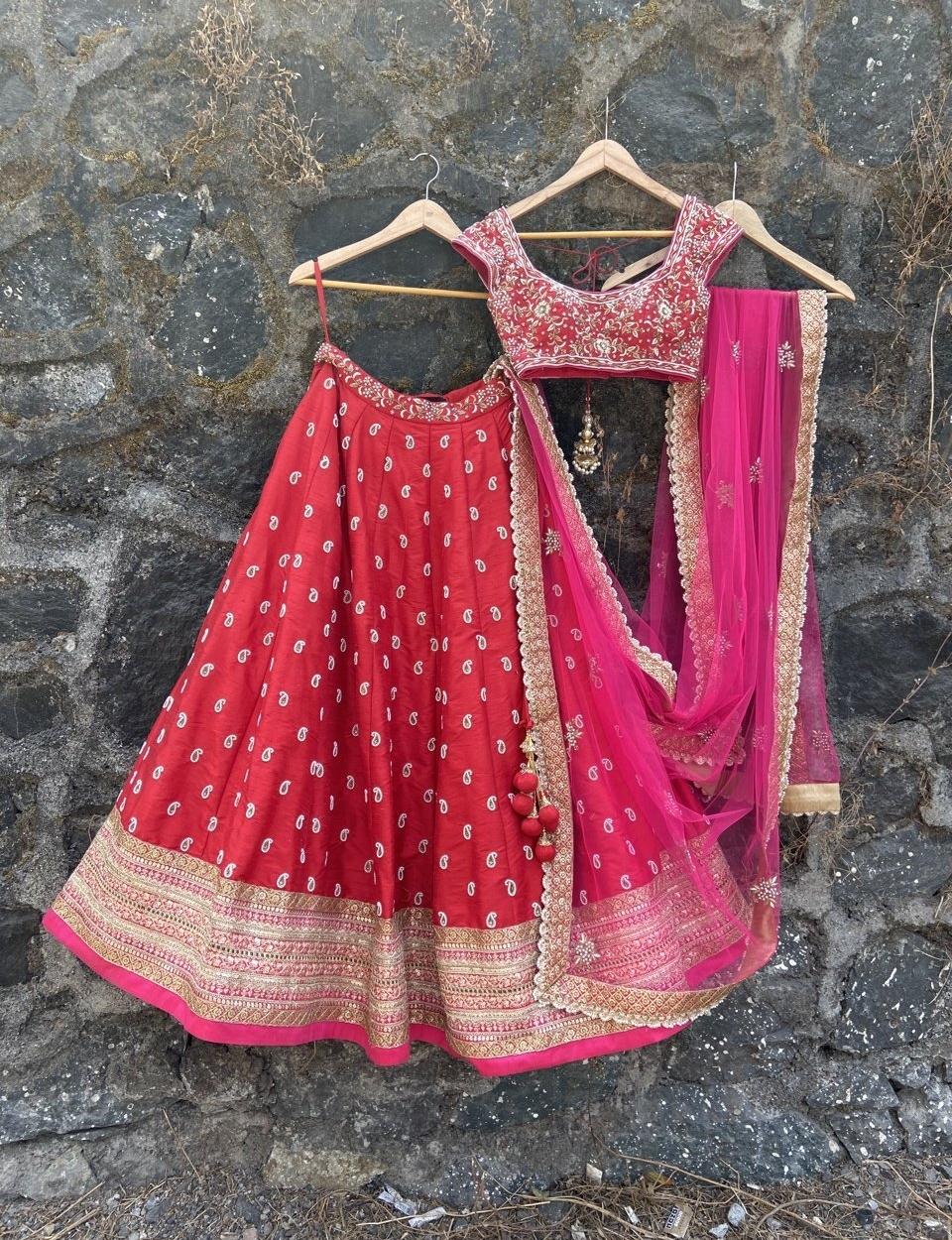 Red and Pink Bridal Lehenga Set - Fashion Brand & Designer Priti Sahni