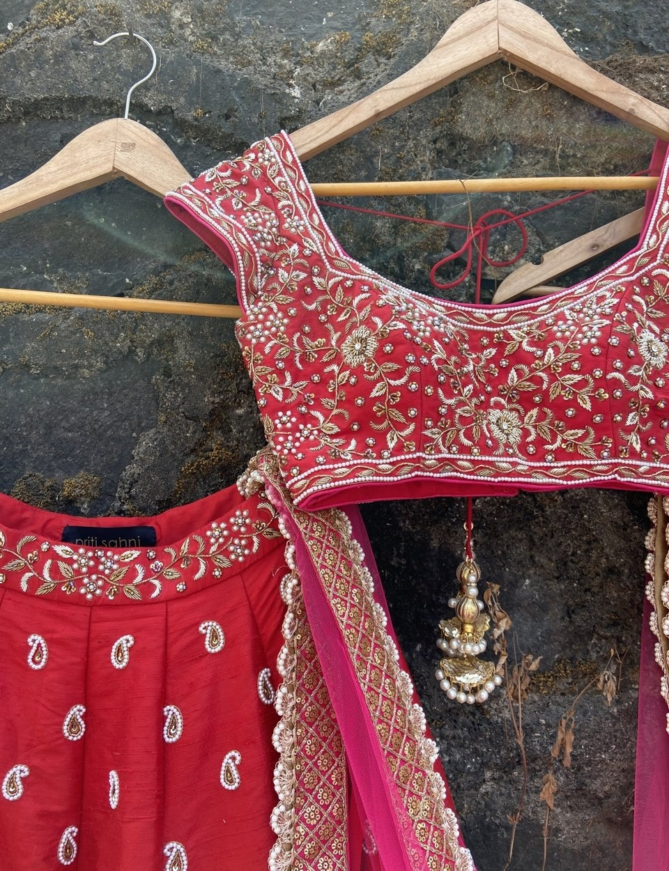 Red and Pink Bridal Lehenga Set - Fashion Brand & Designer Priti Sahni 2
