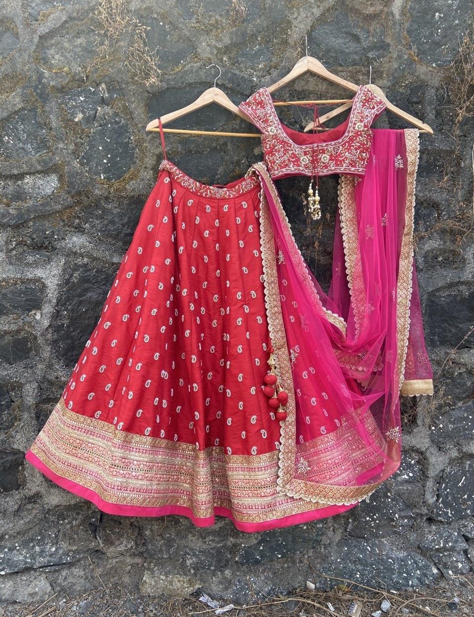 Red and Pink Bridal Lehenga Set - Fashion Brand & Designer Priti Sahni 7