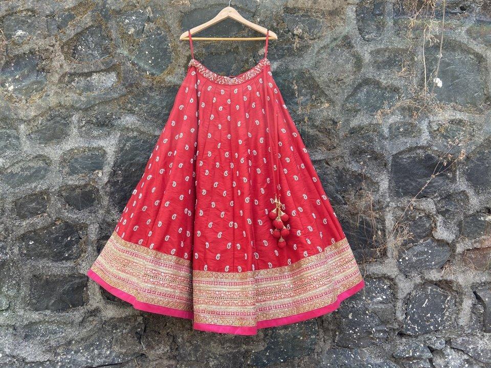 Red and Pink Bridal Lehenga Set - Fashion Brand & Designer Priti Sahni 5