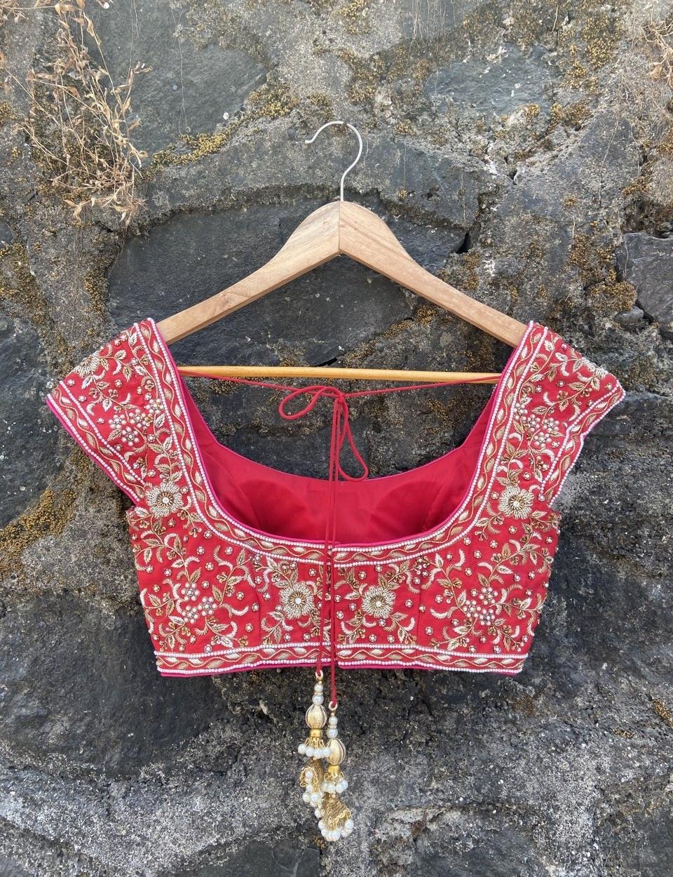 Red and Pink Bridal Lehenga Set - Fashion Brand & Designer Priti Sahni 4