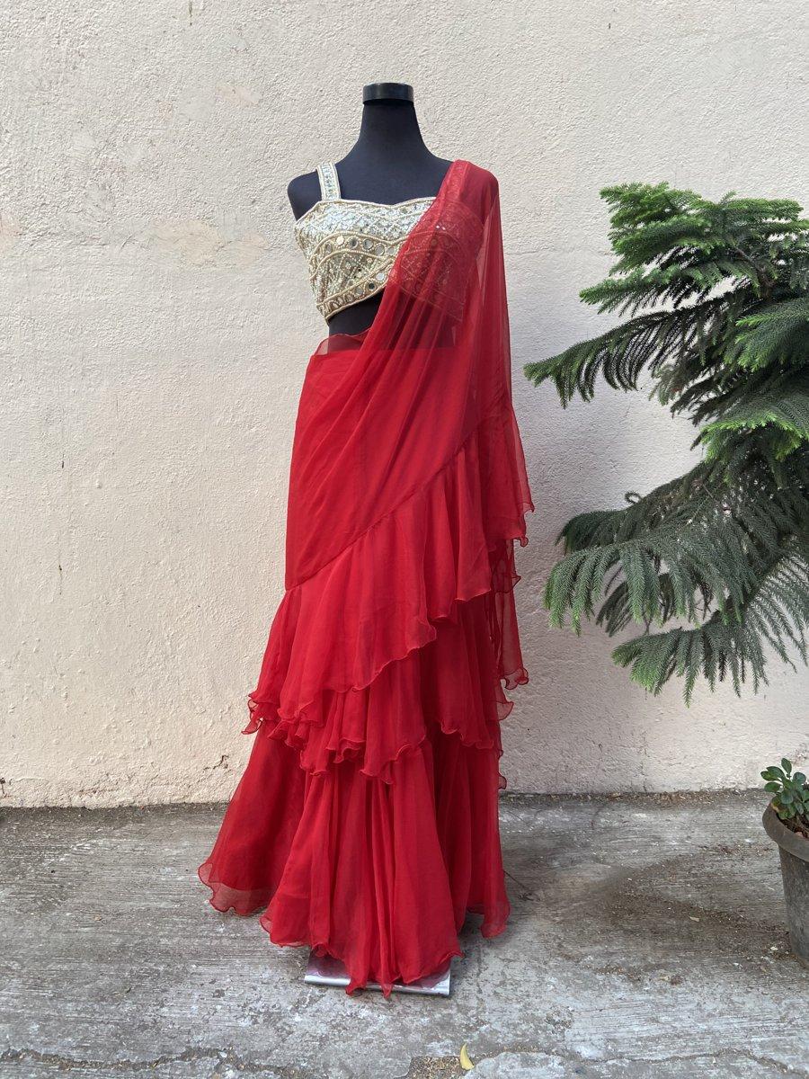 Red Ruffle Saree - Fashion Brand & Designer Priti Sahni 7