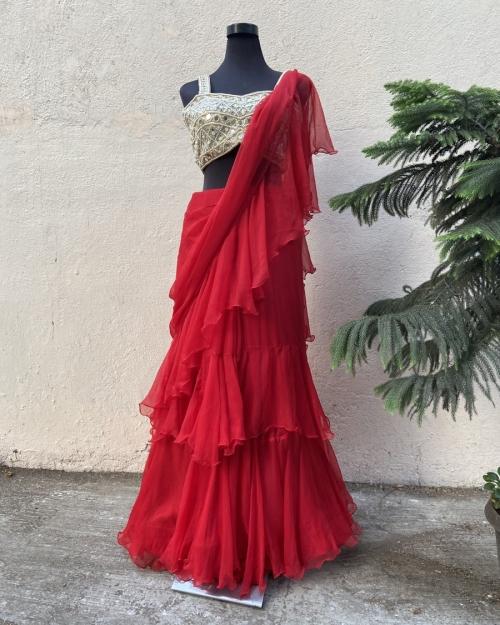 Red Ruffle Saree - Fashion Brand & Designer Priti Sahni
