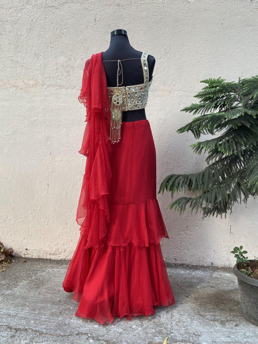 Red Ruffle Saree - Fashion Brand & Designer Priti Sahni 6