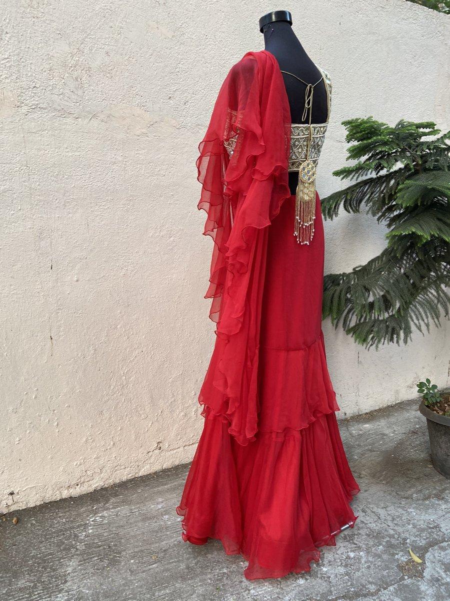 Red Ruffle Saree - Fashion Brand & Designer Priti Sahni 5