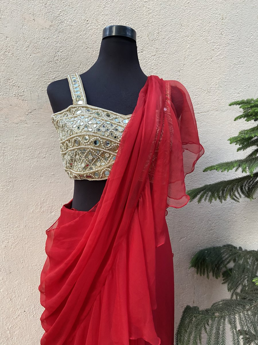 Red Ruffle Saree - Fashion Brand & Designer Priti Sahni 3