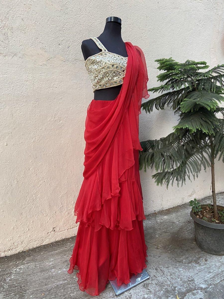 Red Ruffle Saree - Fashion Brand & Designer Priti Sahni 2
