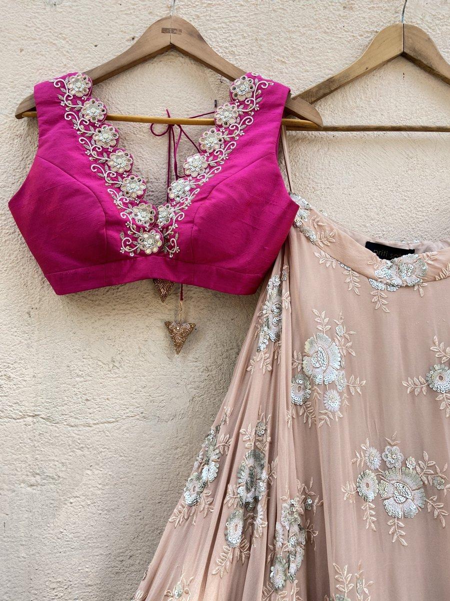 Nude Butti and Fuchsia Lehenga Set - Fashion Brand & Designer Priti Sahni 4