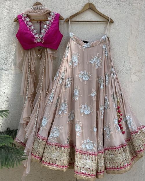 Nude Butti and Fuchsia Lehenga Set - Fashion Brand & Designer Priti Sahni