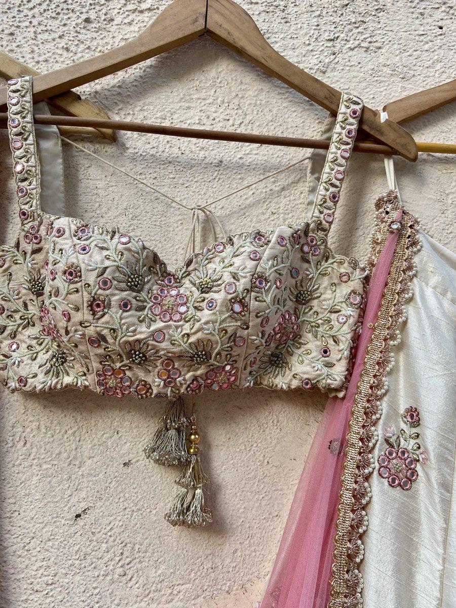 Ivory Raw Silk Lehenga with Mirror Work and Bustier Set - Fashion Brand & Designer Priti Sahni 6