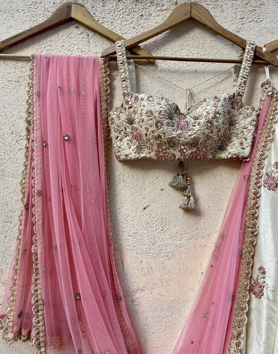 Ivory Raw Silk Lehenga with Mirror Work and Bustier Set - Fashion Brand & Designer Priti Sahni 5