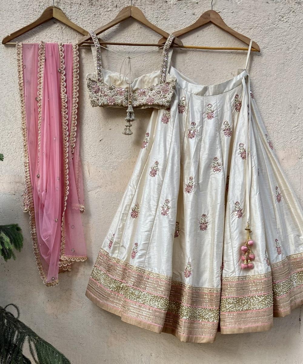 Ivory Raw Silk Lehenga with Mirror Work and Bustier Set - Fashion Brand & Designer Priti Sahni 4