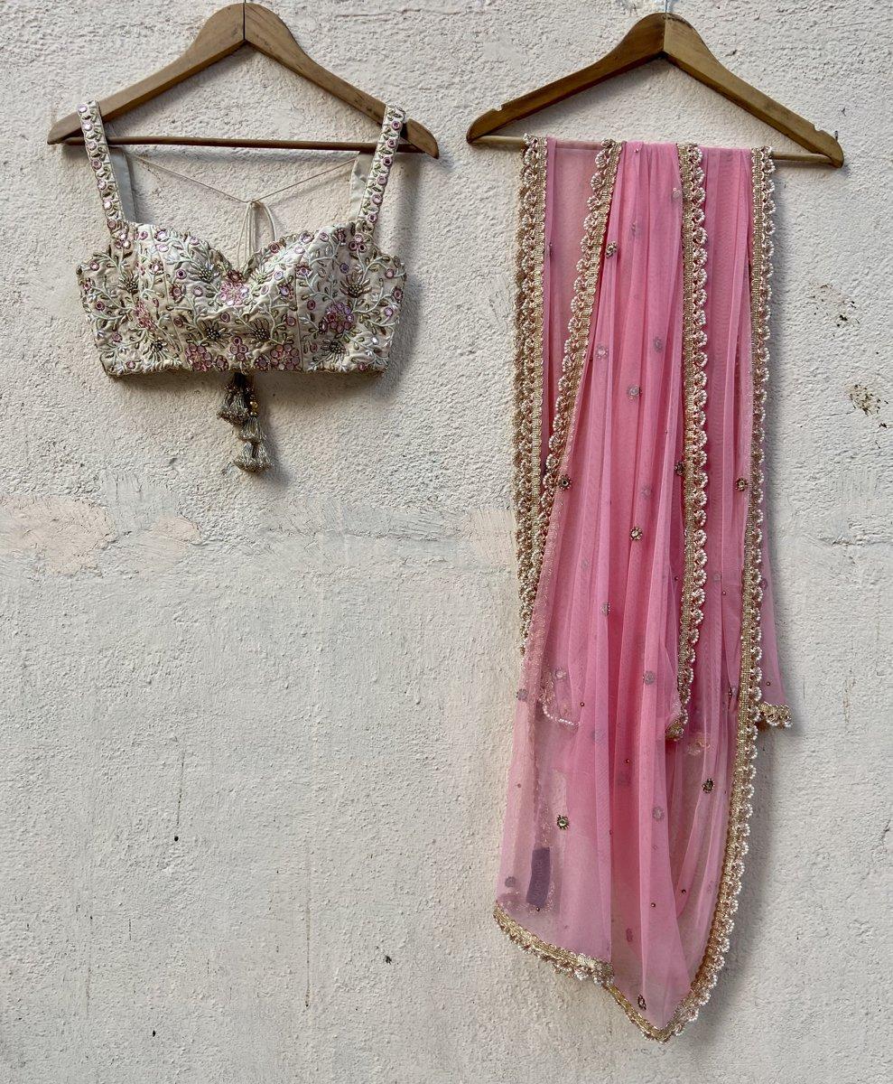 Ivory Raw Silk Lehenga with Mirror Work and Bustier Set - Fashion Brand & Designer Priti Sahni 2