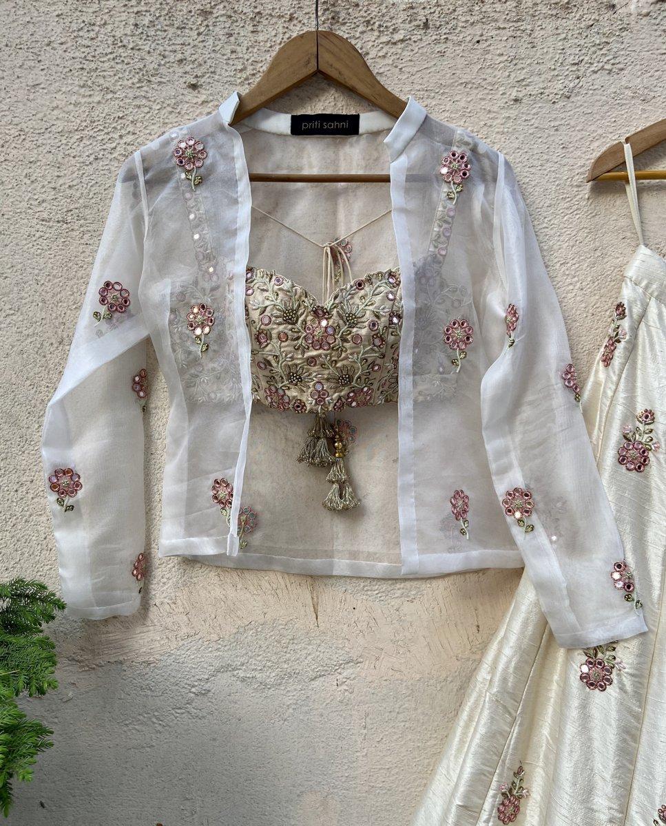Ivory Raw Silk Lehenga with Mirror Work and Bustier and Jacket - Fashion Brand & Designer Priti Sahni 4
