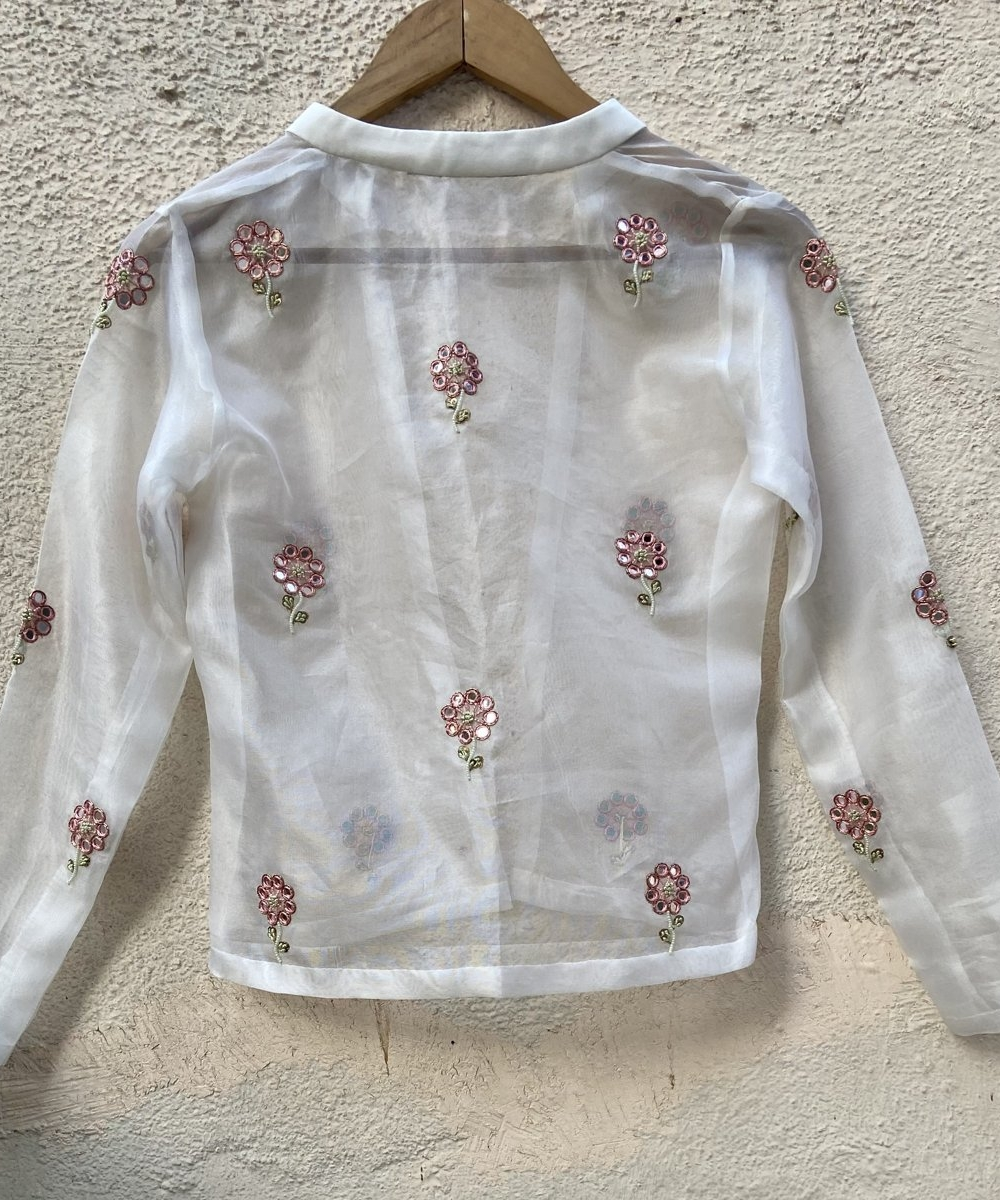 Ivory Raw Silk Lehenga with Mirror Work and Bustier and Jacket - Fashion Brand & Designer Priti Sahni 2