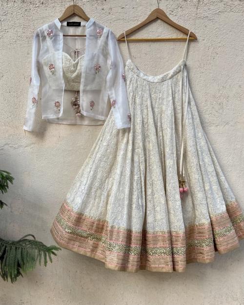 Lucknowi Thread Work Inspired Lehenga Set with Jacket - Fashion Brand & Designer Priti Sahni