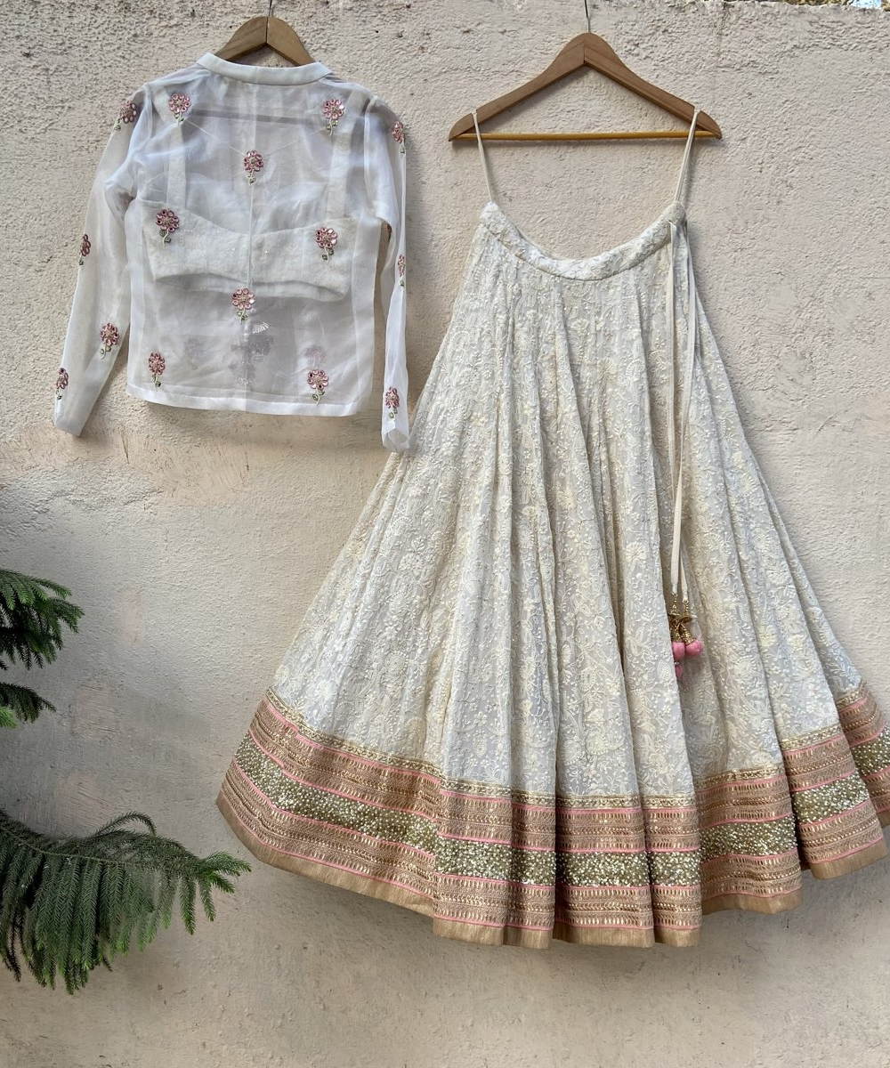 Lucknowi Thread Work Inspired Lehenga Set with Jacket - Fashion Brand & Designer Priti Sahni 2