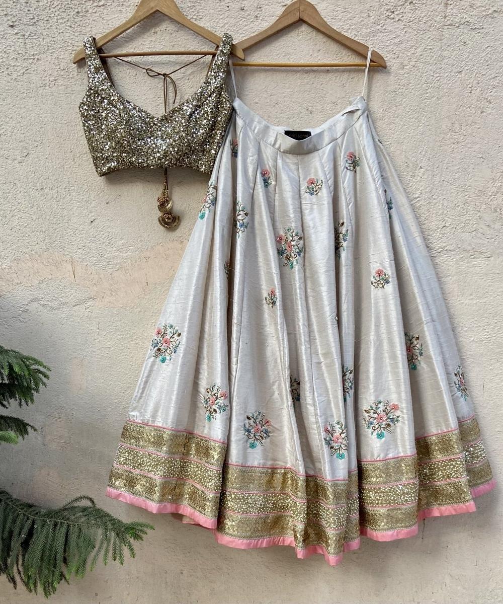 Off-White Raw Silk Lehenga with Colourful Embroidery - Fashion Brand & Designer Priti Sahni 2