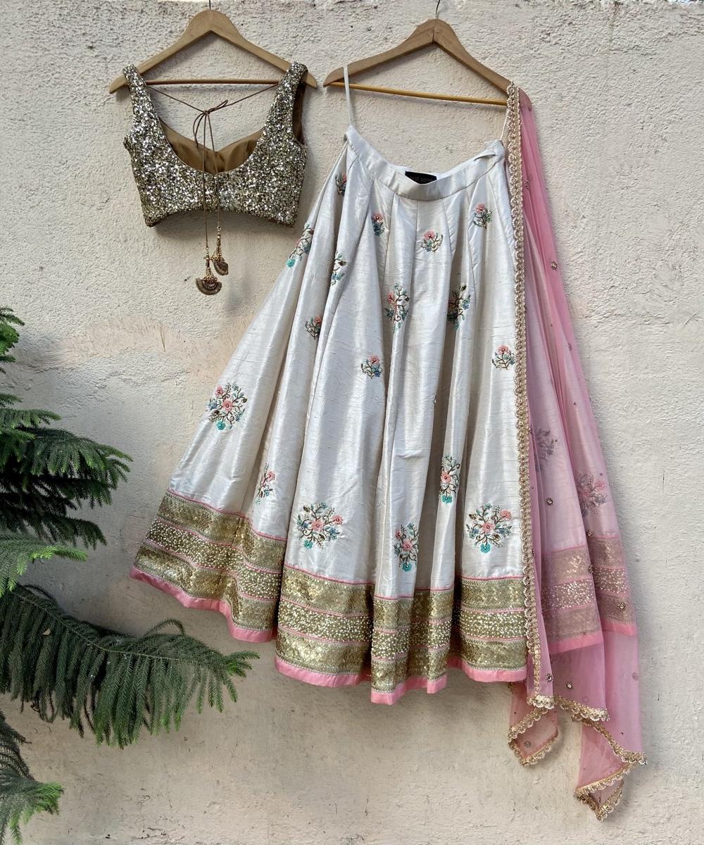 Off-White Raw Silk Lehenga with Colourful Embroidery - Fashion Brand & Designer Priti Sahni 3